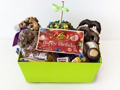 Happy Birthday & Thank You ($35) – Say Happy Birthday, or show Thanks, with a combination of My  Favorite Sweet Shoppe favorites! This basket includes chocolate covered pretzels and oreos, one of our signature apples, buckeyes, nostalgia candy, gummie bears, nuts, mountain bark and a pack of special Happy Birthday or Thank You Jelly Belly!