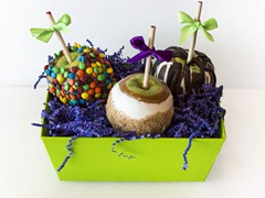 How 'Bout Them Apples ($30) – Our hand-dipped Caramel Apples are great to send to a family, office or group of friends to split! Pick any three of our 17 flavors to put into this delectable basket!