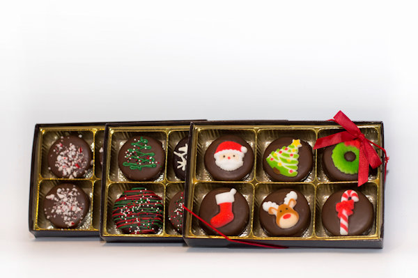 Half dozen Oreo pack Options: Milk Chocolate Peppermint, White Chocolate Peppermint Dark Chocolate Peppermint, Holiday Sugar Buddies, Holiday Sprinkle